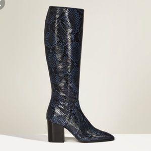 NWT! Zara Studio Leather Snakeskin Print Boots 41
